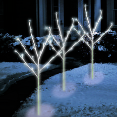 Christmas Lights | Battery Operated 3 Piece LED Pure White Miniature Lighted Trees - American Sale