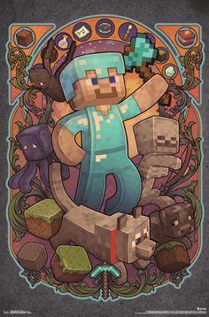 Trends International Wall Poster Minecraft Steve Nouveau, x Minecraft Crafts, Minecraft Designs, Minecraft Memes, Minecraft Skins, Steve Minecraft, Minecraft Fan Art, Minecraft Wallpaper, Minecraft Houses, Minecraft Drawings