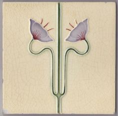 Stylized art nouveau floral design from The Henry Richards Tile Co. I think of the stylized pale lavender-glazed and hand-painted flower on cream-yellow field as Egyptian for some reason. Tile is in...