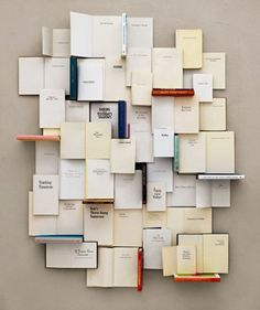 "Book installation ""Yesterday, Today and Tomorrow"" - Kent Rogowski Piet Mondrian, Book Installation, Exposition Photo, Modern Hepburn, Book Wall, Collage Making, Objet D'art, Yesterday And Today, I Love Books"