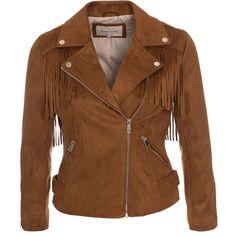 Fringe Belt Biker Jacket (570 DKK) via Polyvore featuring outerwear, jackets, brown motorcycle jacket, moto jackets, rider jacket, brown fringe jacket and fringe jackets