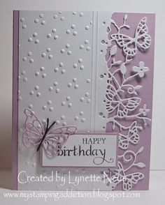 handmade card from My Stamping Addiction: Memory Box Butterflies  ... white and lavender ... luv how the delicate butterfly border looks over the base card color ... great card!