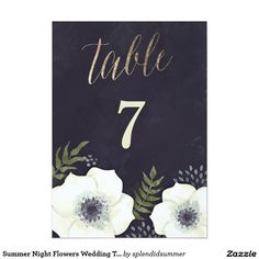 Summer Night Flowers Wedding Table Number 5x7 Paper Invitation Card