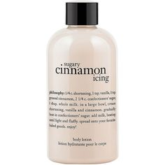 philosophy sugary cinnamon icing body lotion 7 oz (52 BRL) ❤ liked on Polyvore featuring beauty products, bath & body products, body moisturizers, beauty, fillers, makeup, cosmetics and body moisturizer