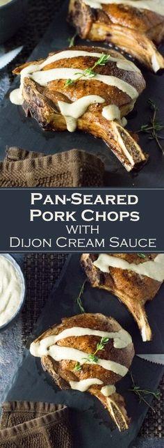 Pan-Seared Pork Chops with Dijon Cream Sauce recipe via Fox Valley Foodie - Yummmm - Recipes Easy Pork Chop Recipes, Pork Rib Recipes, Pork Tenderloin Recipes, Meat Recipes, Yummy Recipes, Dijon Cream Sauce, Cream Sauce Recipes, Cooking Boneless Pork Chops, Pork Meat