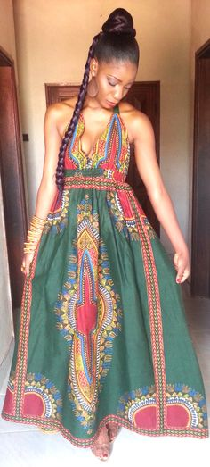 African Dashiki V cut Dress by THEAFRICANSHOP on Etsy, £55.00