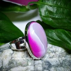 Pink Agate Adjustable Crystal Ring