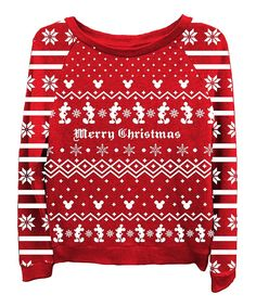 Red Mickey Mouse  Merry Christmas  Sweatshirt - Women by Freeze Juniors    Ladies Not an ugly sweater but cute! 3f17ddd18