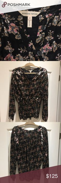 Rebecca Taylor Shadow Floral top Floral burnout blouse with cinched drawstring waist. Worn once EUC. Rebecca Taylor Tops Blouses