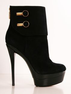 RACHEL ZOE BOOTS ... Black high heel ankle boots with gold accents