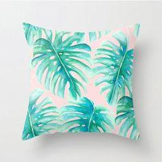 Watercolor Palms pillow, home decor, monstera leaves, botanicals on blush, split…