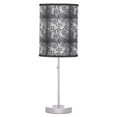 Black and Silver Curls Pattern Table Lamp