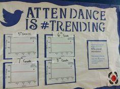 Fun bulletin board to encourage school attendance. Also, Behavior is Attendance Incentives, Attendance Board, Student Attendance, Attendance Ideas, Education Middle School, School Social Work, Public School, School Wide Themes, School Displays