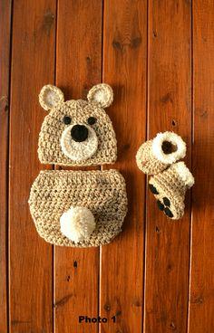 0782d18eefe Crochet Newborn Baby Bear Outfit Set Costume Newborn Photo Outfit Boy  Crochet Bear Outfit Bear Photo Prop Outfit Baby Shower Gift Bear Hat