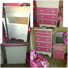 What I've done so far in Mia's Minne Mouse room! Minnie mouse furniture diy flea market flip