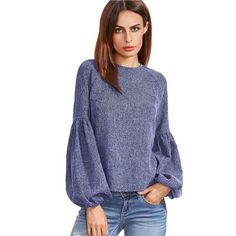 Lantern Sleeve Keyhole Back Top Womens Casual Long Sleeve Round Neck Blouse
