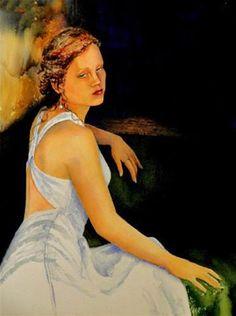 "Daily Paintworks - ""Green Eyes"" - Original Fine Art for Sale - © Sharon Egan Coldplay Songs, Fine Art Gallery, Green Eyes, Art For Sale, Watercolor, Portrait, Celebrities, Artist, Artwork"