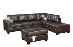 Bobkona Rui 3-Piece Bonded Leather Reversible Sectional Sofa with Matching Ottoman, Dark Brown...CLICK for more detail...FREE Shipping on order over $25
