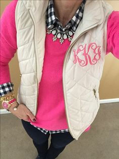 Fashion Over 40:  Pop of pink....paired with navy, one of my favorite combos. Old Navy Vest Monogrammed, A&F Sweater, J Crew Gingham Shirt, Baublebar Necklace, Charming Charlie Watch, Loren Hope Bracelet, Stella & Dot Bracelet