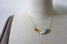 Ombre Necklace with Natural Jade in Mustard White by sageandolivia, $39,00