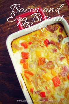 A savory breakfast casserole made with 2 kinds of bacon, eggs, cheese, peppers and a flaky biscuit crust. Perfect for your next breakfast or brunch get-together!