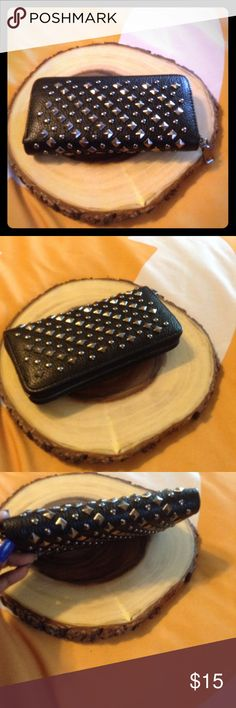 Women's wallet Women's black Rivet clutch wallet Bags Wallets