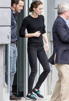 Kate Middleton dressed down in black jeans and sneakers with her hair pulled back into a messy bun following her sailing excursion with Sir Ben Ainslie in Portsmouth, England, on Friday, May 20 — read more