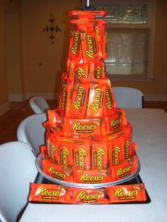 """Candy Bar """"Cake"""" - I love this idea for the chocoholic in your life! This is going to be Russ' B-Day Cake!!"""