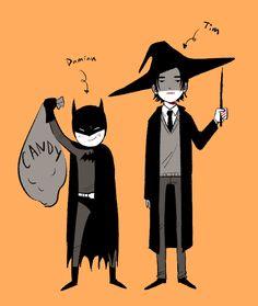 Happy Halloween from the Batboys!! Damian Wayne & Tim Drake.