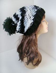 Burst Slouchy Pom Beanie - Black & White. $25.00, via Etsy.