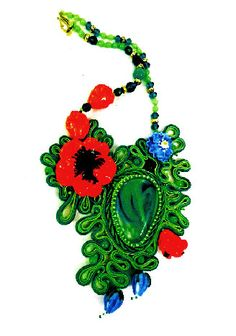 Projects - Bib-Style Necklace with Lampworked Glass Beads, Soutache Braid and Seed Beads - Fire Mountain Gems and Beads