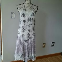 Free People Antique dress Nwt fp antique patch dress. Adjustable threaded back.  Long length. Pretty floral and lilac patched motif. white lace detail front. Free People Dresses Maxi