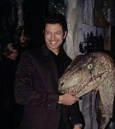Jeff and a raptor O. Jurassic Movies, Jurassic Park Film, Jurassic Park World, Daddy Long, Dragon's Lair, Geek Squad, Park Photos, Sci Fi Art, Dinosaurs