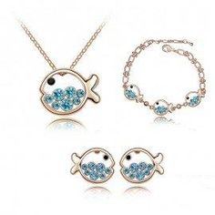 Jeulia - Jeulia Fish Shape Created Aquamarine Women's Necklace Bracelet & Earrings Set - AdoreWe.com