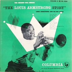 "Album cover design by Jim Amos, 1951,  ""The Louis Armstrong Story"", vol. 2, Columbia ML 4384."
