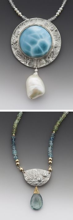 """110. Sugatha Roeder: """"Each piece is meticulously handcrafted and unique, using pearls and gemstones, Sterling silver and 14 KT Gold filled. I hope to convey to you the joy and delight which I experience in the creation of these little treasures."""" George Post Photos. www.inlovewithpearls.com"""