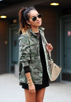 Dark Ombre in High Pony Tail, army jacket with black dress