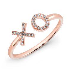 14KT Rose Gold Diamond XO Ring #MothersDay #MothersDayGift #MothersDayGiftIdeas
