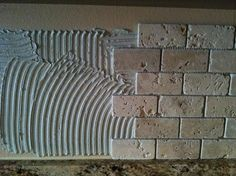 8  2x4 Tumbled Brick Chiaro Travertine backsplash installation Tampa Sarasota Brandon Bradenton St Pete Clearwater