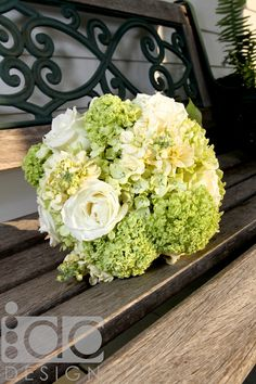 A delicate green hydrangea bouquet offers a subtle alternative to white florals. Photography by I Do Design