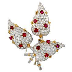 TIFFANY & Co. SCHLUMBERGER Diamond Ruby Pin. Circa 1960s
