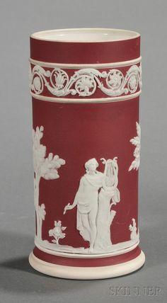 Wedgwood Crimson Jasper Dip Spill Vase, England, c. 1920.