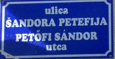 Bilingual Croatian/Hungarian street name sign, Croatia