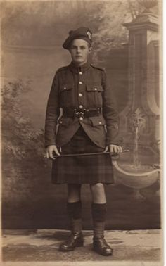 A young Gordon Highlander in Walking Out dress as worn from 1916 onwards. Note that he wears the kilt without apron or sporran and is carrying a swagger stick.