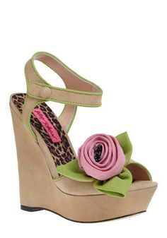 I could make these easily. Not about to pay $185 for a pair of shoes, even if they are Betsey Johnson. Give me some felt and a needle and thread and a pair of wedges from Target.