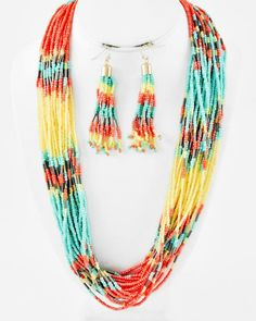 Gold Tone / Yellow & Multi Color Acrylic Seed Beads / Lead&nickel Compliant / Multi Strand Necklace & Fish Hook Earring Set
