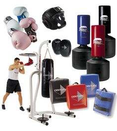 A selection of boxing equipment