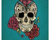 Mexican Skull Art Print by NathalyBonilla Sugar Skull Tattoos, Sugar Skull Art, Mexican Skull Art, Mexican Sugar Skulls, Caveira Mexicana Tattoo, Los Muertos Tattoo, Day Of The Dead Skull, Candy Skulls, Tattoo Ideas