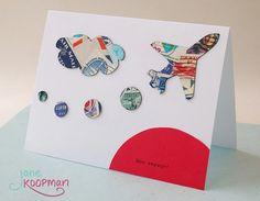 Bon Voyage Farewell Card w/ Air Travel Theme Postage Stamp Art Collage