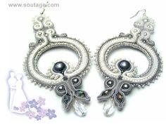 Moonchild handmade wedding soutache earrings by SoutageAnka